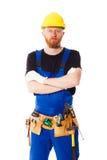 Построитель молодого человека с поясом инструментов конструкции Стоковые Фотографии RF