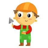 Построитель ребенк, персонаж из мультфильма на белизне Стоковая Фотография RF