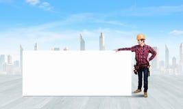 Построитель с знаменем Стоковое Изображение