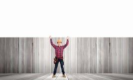 Построитель с знаменем Стоковое Фото