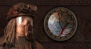 Пост-апоралипсическая футуристическая концепция фантазия Steampunk стоковые фотографии rf