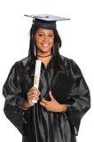 Постдипломная женщина держа диплом Стоковая Фотография RF