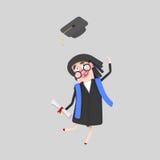 Постдипломная женщина скача с ее крышкой в воздухе Стоковые Изображения