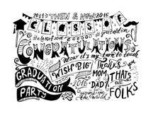 Постдипломная поздравительная открытка с партией градации литерности и надписей, поздравлениями Стоковое Фото