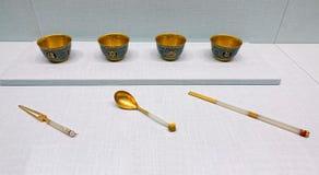 Посуда золото-нефрита Китаев старая стоковое фото rf