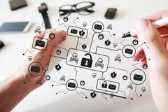 Посылайте тему по электронной почте вируса и аферы с тетрадью стоковое изображение