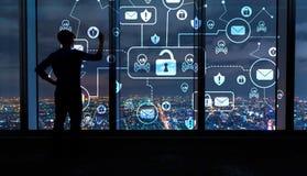 Посылайте тему по электронной почте вируса и аферы с человеком большими окнами на ноче иллюстрация штока
