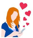посылка сообщения влюбленности девушки иллюстрация вектора