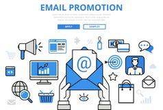 Посылайте продвижению цифровую концепцию по электронной почте маркетинга плоская линия значки вектора искусства иллюстрация вектора