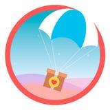 Посылка подарка летает для того чтобы парашютировать в небе вектор икона Стоковое фото RF