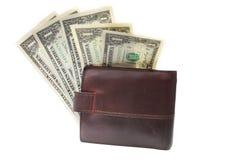 Последнее 5 долларов в кожаном портмоне Стоковые Изображения