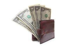 Последнее 5 долларов в портмоне Стоковое фото RF