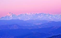 Последний заход солнца в Гималаях Стоковая Фотография