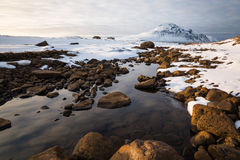 Последний свет на Gunnolfsvikurfjall, северная Исландия Стоковые Изображения RF