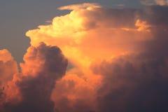 Последний свет дня с облаками Стоковая Фотография