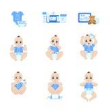 Последовательность пеленки младенца изменяя Стоковые Изображения