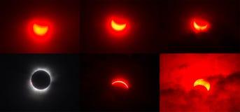 Последовательность полного затмения Sollar в Индонезии Стоковая Фотография RF