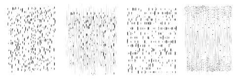 Потеки вектора и точки излишка бюджетных средств Вертикальные линии, падают и брызгают Комплект 4 различных картин Текстура нарис Стоковые Фотографии RF