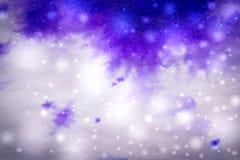 потеки и снежинки чернил предпосылки зимы фиолетовые Стоковая Фотография RF