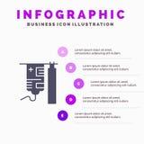 Потек, больница, медицинская, шаблон представления Infographics обработки Представление 5 шагов иллюстрация вектора