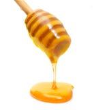 Потек меда от деревянного изолированного ковша Стоковая Фотография RF