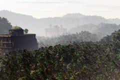Потерянный город глубоко в месте 3D фантазии джунглей представляет 1 Стоковое Изображение RF