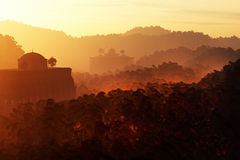 Потерянный город глубоко в месте 3D фантазии джунглей представляет 1 Стоковые Изображения RF