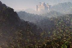 Потерянный город глубоко в месте 3D фантазии джунглей представляет 1 Стоковая Фотография