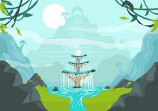 Потерянный город с фонтаном молодости или элексиром концепции жизни Editable искусство зажима Стоковое Фото