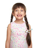 Потерянный портрет девушки зуба, всход студии на белой предпосылке Стоковое Изображение RF