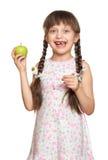 Потерянный портрет девушки зуба, всход студии на белой предпосылке Стоковое Фото