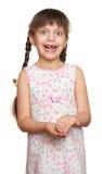 Потерянный портрет девушки зуба, всход студии на белой предпосылке Стоковые Фото