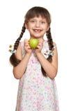Потерянный портрет девушки зуба, всход студии на белой предпосылке Стоковая Фотография
