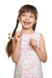 Потерянный портрет девушки зуба, всход студии на белой предпосылке Стоковые Изображения RF