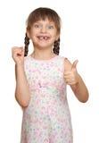 Потерянный портрет ребенка девушки зуба имея потеху, всход студии изолированный на белой предпосылке Стоковая Фотография