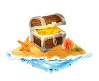 Потерянный сундук с сокровищами золота на острове иллюстрация штока