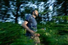 Потерянный человек бежать через древесины Стоковые Изображения