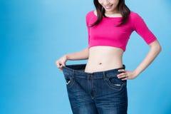 Потеря веса выставки женщины стоковые фотографии rf