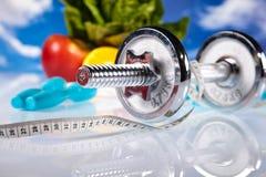 Потеря веса, фитнес, яркая красочная концепция тона стоковое фото