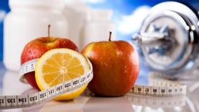 Потеря веса, фитнес, яркая красочная концепция тона стоковая фотография rf