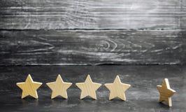 Потеря пятой звезды ресторана или гостиницы Падение в оценку и опознавание Ухудшение качества в качестве обслуживания стоковые фотографии rf