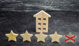 Потеря пятой звезды ресторана или гостиницы Падение в оценку и опознавание Ухудшение качества в качестве обслуживания стоковое изображение