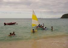 Потеха гребли в наветренных островах на воскресенье Стоковое фото RF