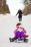 потеха детей имея зиму парка стоковое фото rf