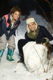 потеха друзей имея снежок 2 Стоковое Фото