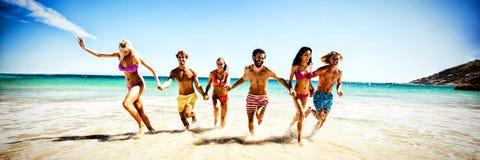 потеха друзей пляжа имея иллюстрация вектора
