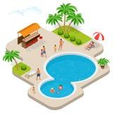 Потеха лета на парке aqua Ребенок с родителями на водных горках на aquapark пристаньте солнце к берегу лета взморья lounger празд бесплатная иллюстрация