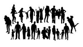 Потеха и счастливые силуэты семьи, дизайн вектора искусства иллюстрация штока