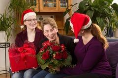 Потеха рождества 3 подарков женщин Стоковое Изображение