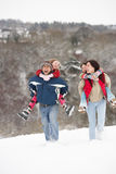 потеха семьи имея снежок Стоковые Изображения RF
